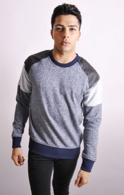 Colour Block Sweatshirt With PU Inserts